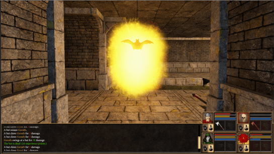 A bat hit by a Flame spell in the middle of combat.