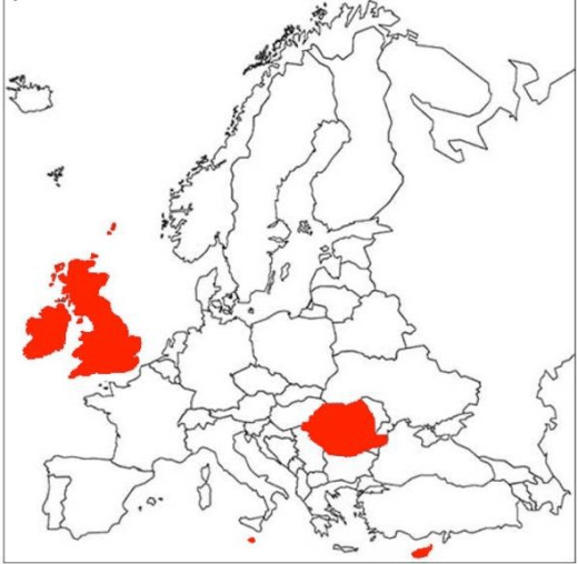 Map of Europe showing countries without strict liability