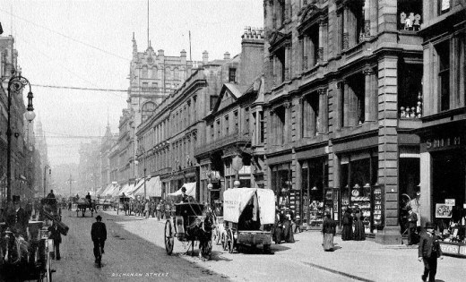 Here's Buchanan St in about 1900, with John Reid's mansion taking centre stage. There's loads more images of Buchanan St through the last few centuries at Glasgow History - click the image for a look.