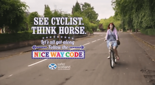 Still taken from the very end of Cycling Scotland's 'See Cyclist, Think Horse' advert. Their copyright, etc.