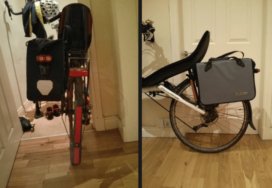 The Ortlieb Office Bag on the back of the MetaBike. The rack is already slightly angled to work around the very low seat - the bag would normally be more tilted to reduce the chance of heelstrike.