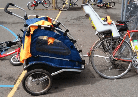 Child trailer and pannier-mounted seat
