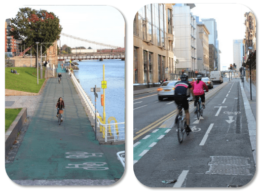 Cycle lane examples