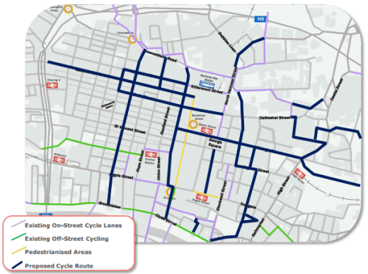Suggested locations for new cycle lanes.
