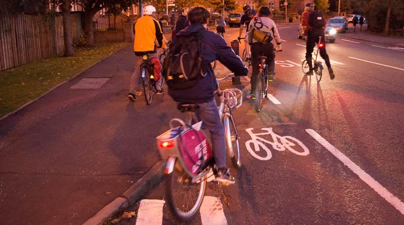 Bollard in a cycle lane