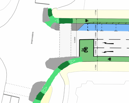 Sketch of how the southern end could be improved