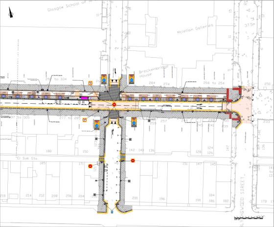 Sauchiehall Street regeneration drawing east
