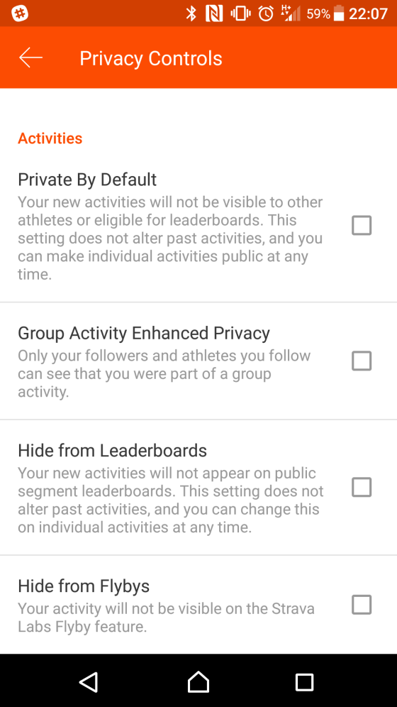 strava android privacy settings