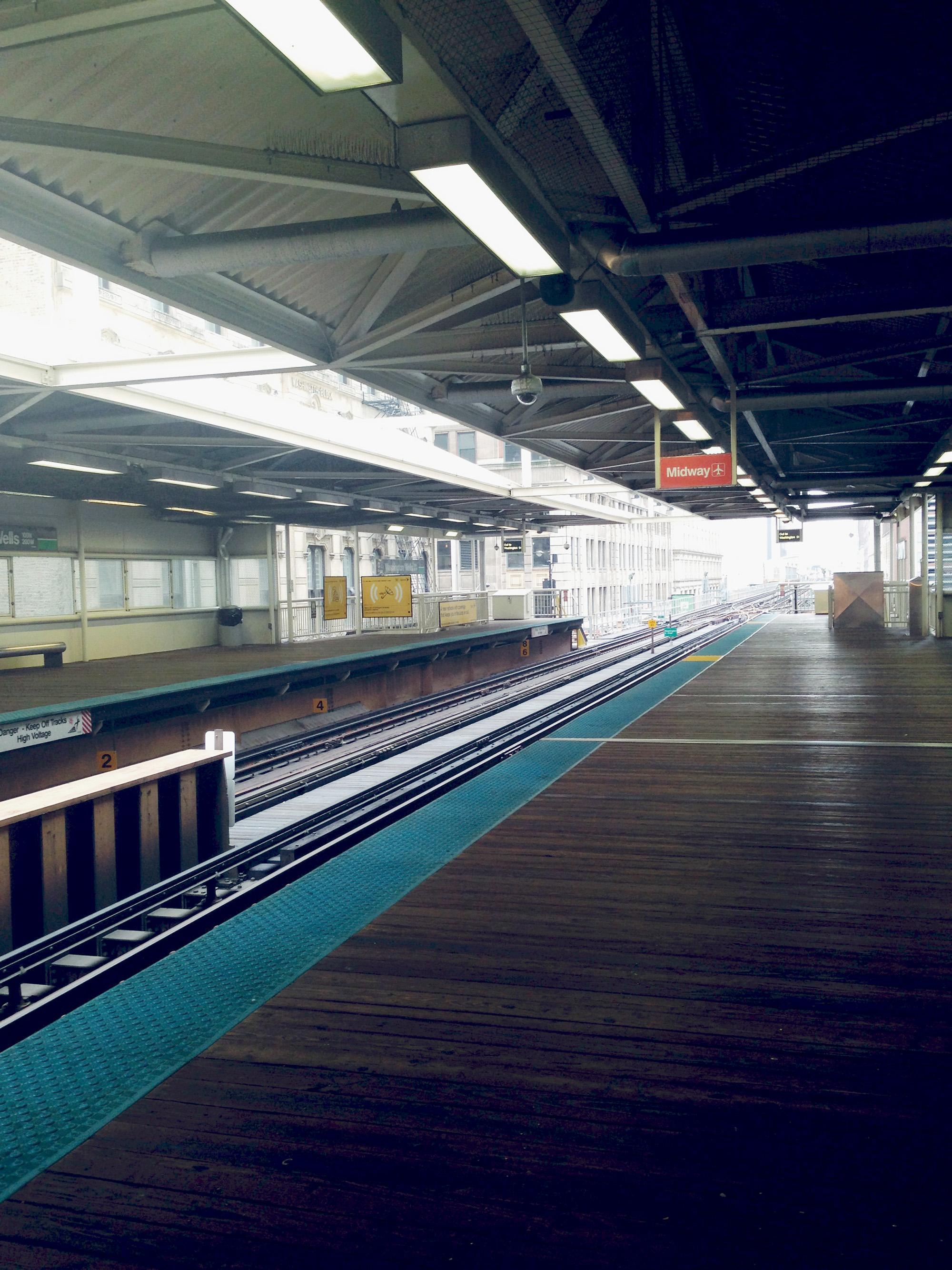 Empty L Station, Chicago IL