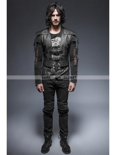 Punk Rave Black Gothic Armor Warrior Short Jacket For Men