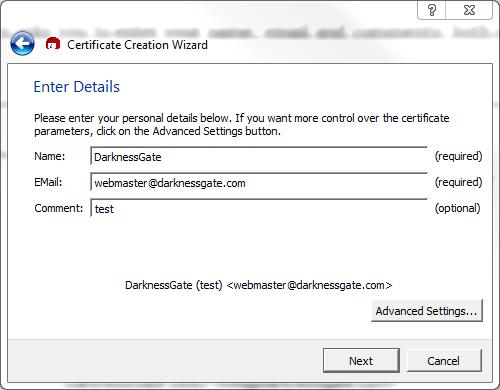Figure 9: Entering Certificate details - comments are optional