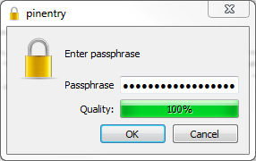 Figure 10: Enter a strong passphrase to protect your key