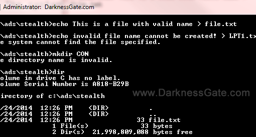 Figure 1: Error messages after attempting to name file or folder with reserved Windows names