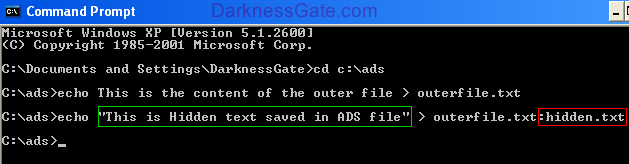 Figure 3: Creating hidden ADS file and appending it to outerfile.txt