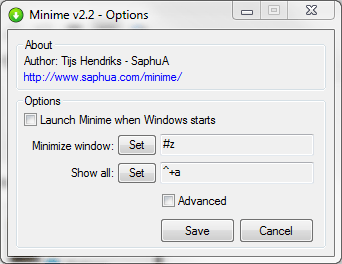 Figure 8:Lunching Options to set your hide/show window hot keys