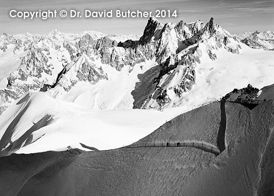 Grandes Jorasses and Track to Vallee Blanche