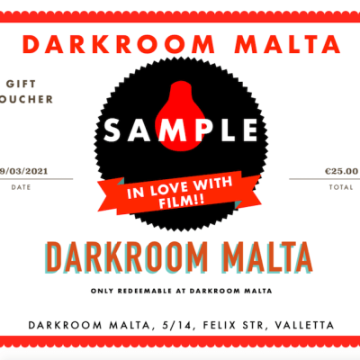 Darkroom Malta, Gift Voucher, Alan Photography, Alan Falzon, 35mm Film, Medium Format Film