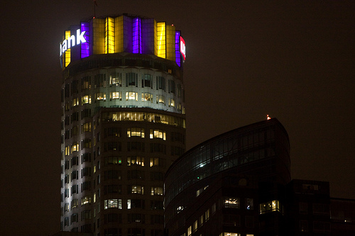 Library Tower in purple and gold