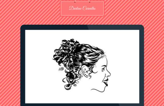 Ilustração de Darlene Carvalho, auto-retrato. Desenho digital.