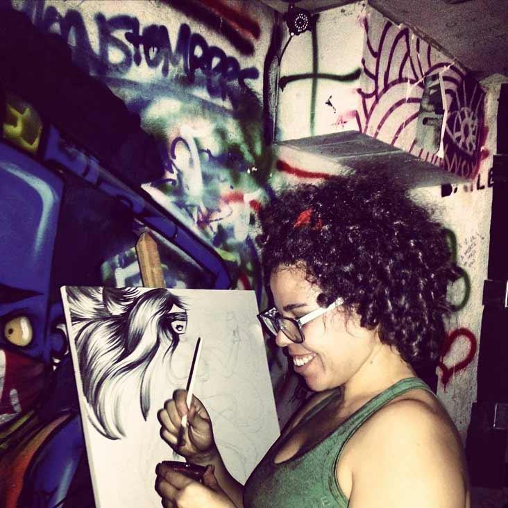 Darlene Carvalho. Live Painting. Fotografia: Davi Andres.