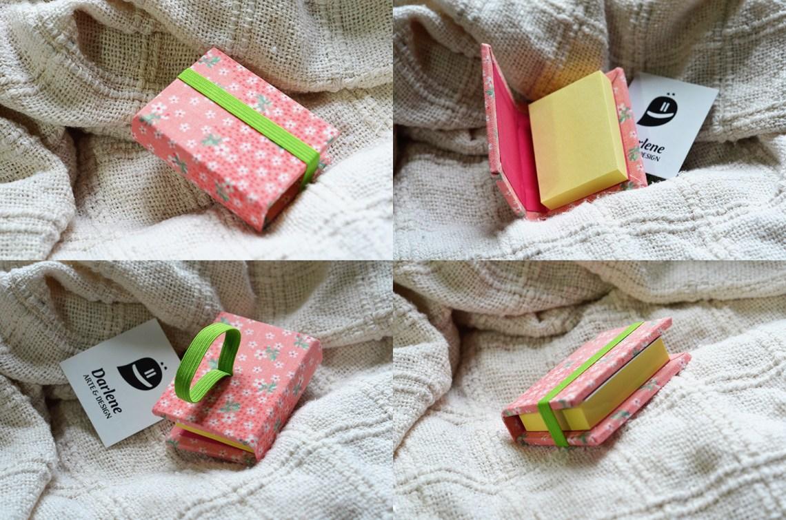 Bloquinho de Notas com estampa floral rosa, feito por Darlene Carvalho.