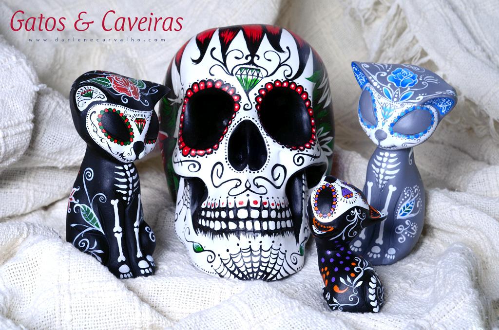 Coleção de gatinhos e caveira para decoração © darlene carvalho