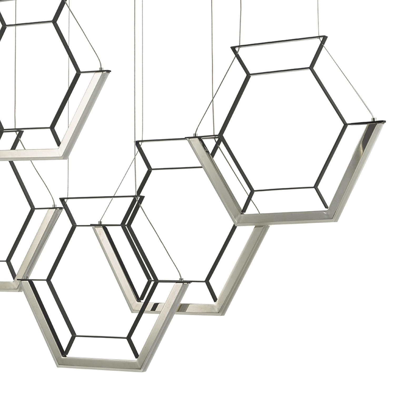 Hexagon 5lt Pendant Black Led