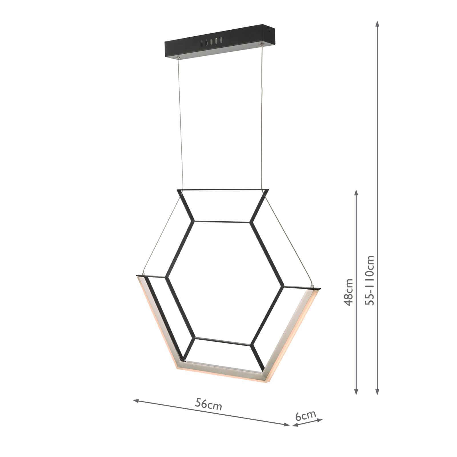 Hexagon 1lt Pendant Black LED