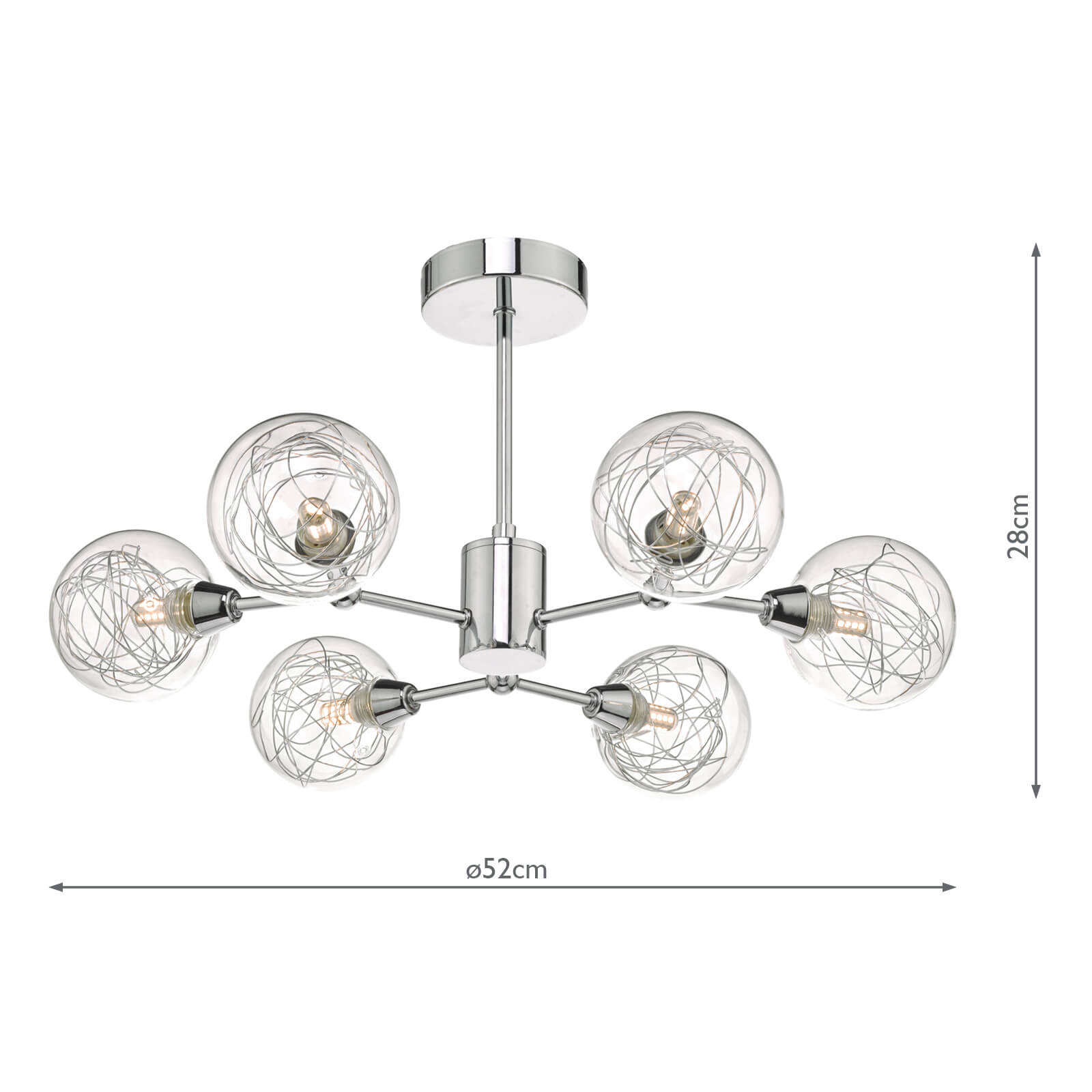 Tyka 6lt Semi Flush Polished Chrome & Glass