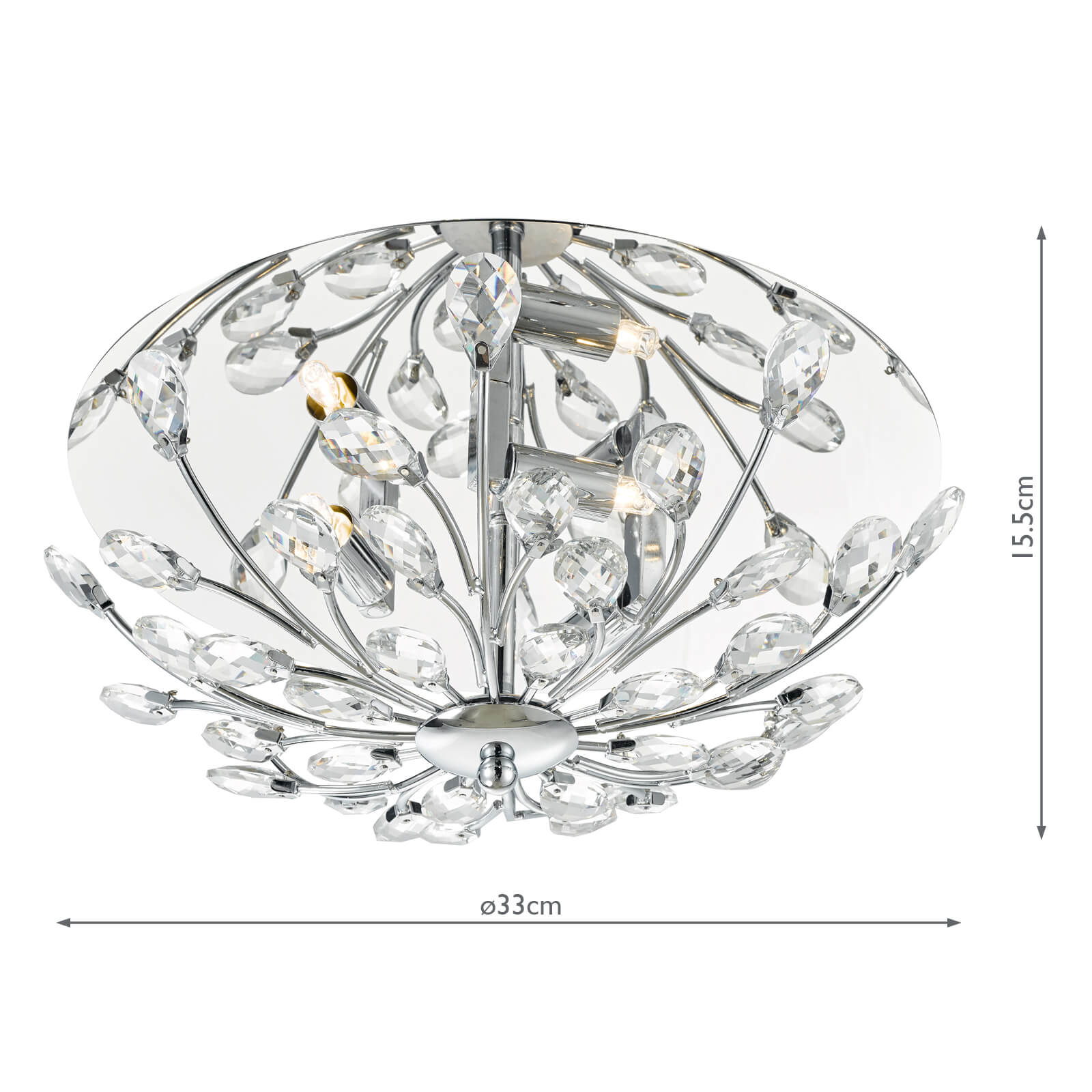 Zafir 3 Light Flush Flora Crystal Decoration Chrome Frame