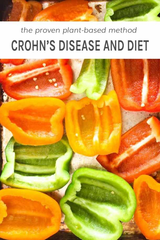 Sliced bell peppers spread out on a sheet tray which has to do with Crohn's disease and diet.