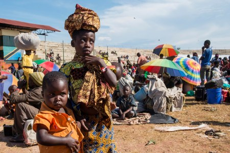 Burundian refugees in the Lake Tanganyika stadium in Kigoma, Tanzania on May 22, 2015. Photo: Daniel Hayduk