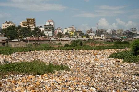 Dar es Salaam, Tanzania - 2015-05-24 - Waste in Jangwani in Dar es Salaam, Tanzania on May 24, 2015. Photo by Daniel Hayduk