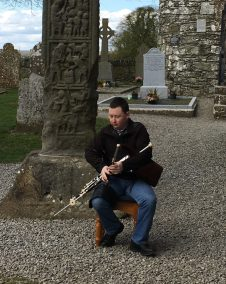 Playing at the high cross in Monasterboice