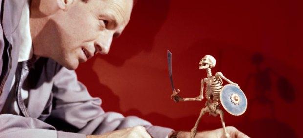 Harryhausen posing one of his skeletons