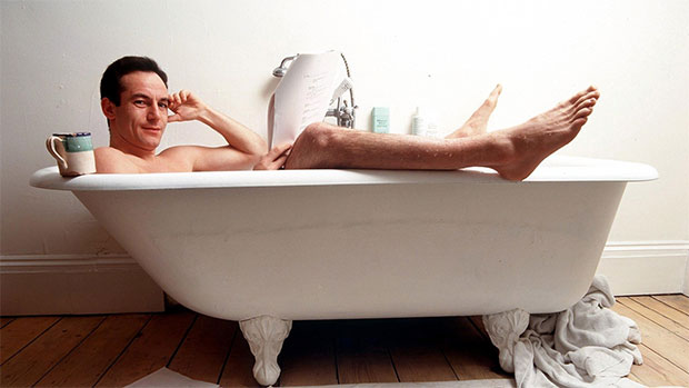 Jason Isaacs in a bath with a nice cup of tea