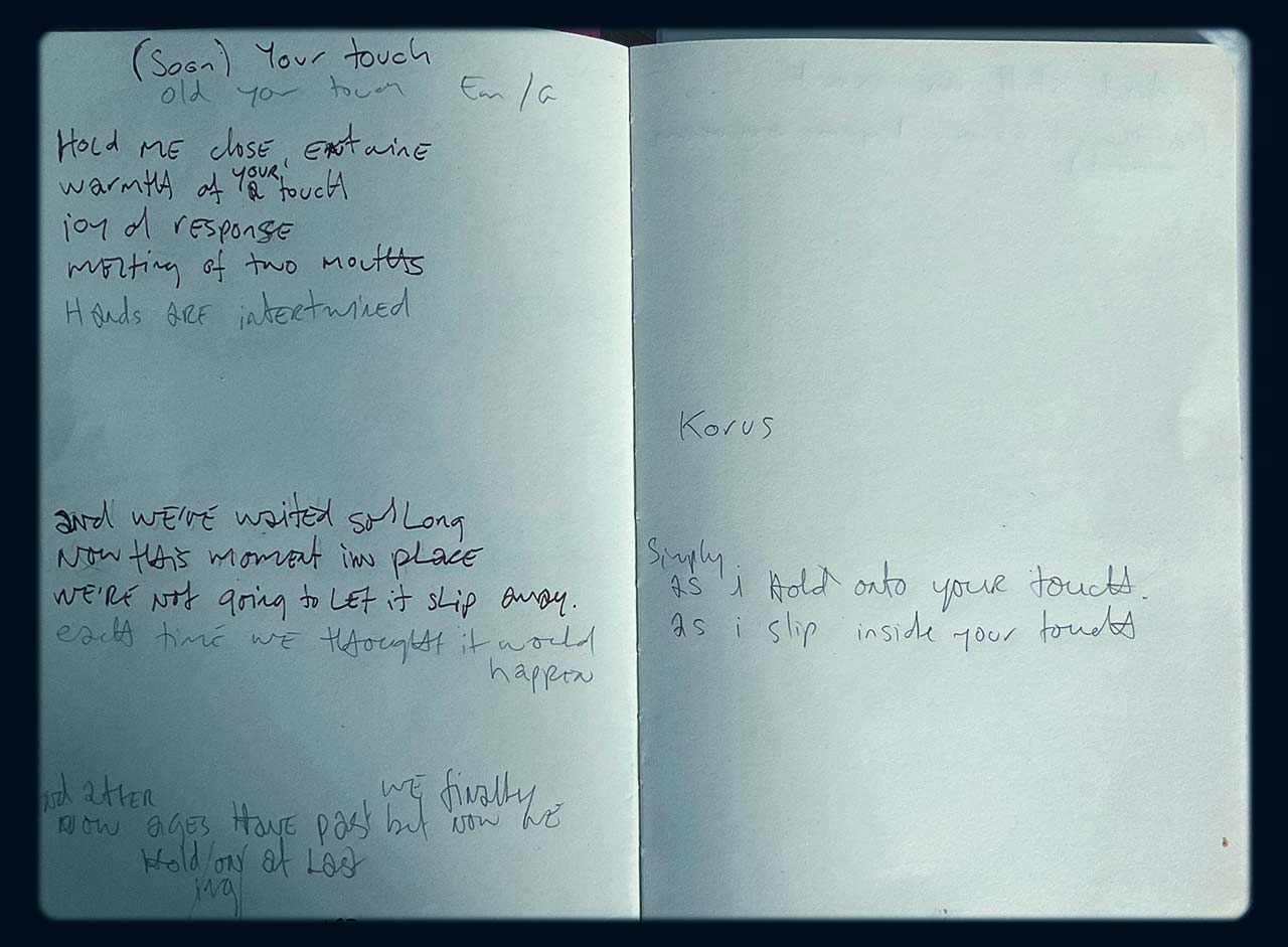 work in progress your touch lyrics in my songwriting journal