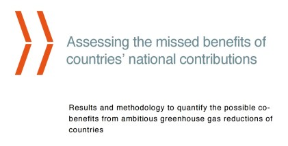 """Front page of the report """"Assessing the missed benefits of countries' national contriutions"""""""