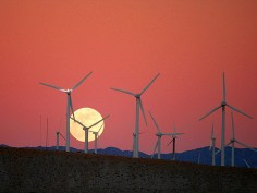 """""""Moon Rise behind the San Gorgonio Pass Wind Farm"""" by Chuck Coker on Flickr"""