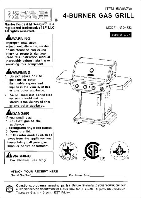 pdf master forge 4 burner gas grill gd4833 my thoughts exactly rh darrowart com Master Forge Grills Owner's Manual master forge charcoal grill owner's manual