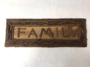 family rustic twig sign