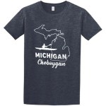 Cheboygan Michigan Tee Shirt Heather Navy
