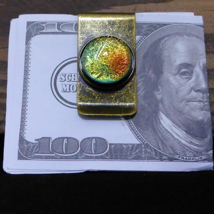 Clip earrings green dichroic glass fusing glass