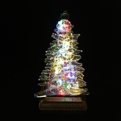 Fused Glass Christmas Tree with Yellow Accents and Wood Stand