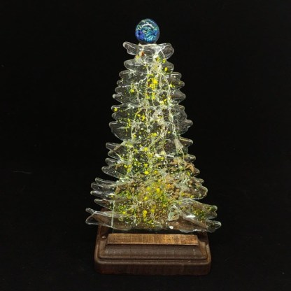Fused Glass Christmas Tree with Yellow and Green Accents and Wood Stand