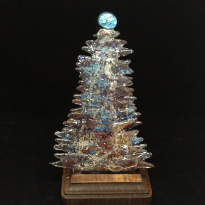 Fused Glass Christmas Tree with Teal Blue Accents and Wood Stand
