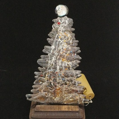 Fused Glass Christmas Tree with Colored Accents and Wood Stand