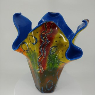 Batik vase with multiple colors
