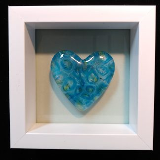 Blue and Green Heart in Shadowbox Frame