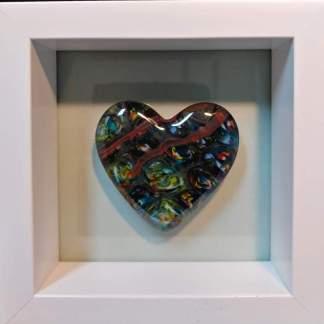 Multicolored Heart in Shawdow Box Frame